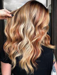 Copper Blonde Hair Color, Caramel Blonde Hair, Pale Blonde Hair, Red Hair With Blonde Highlights, Strawberry Blonde Highlights, Red To Blonde, Balayage Hair Blonde, Blonde Color, Blonde Hair With Copper Lowlights