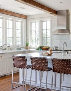 "Kitchen Design. Kitchen Design Ideas. White Kitchen Design. The stools are the ""Mark Albrecht Studio Stools"". #KitchenSource for the post: Click"