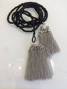 Excited to share the latest addition to my #etsy shop: Lariat Necklace #necklace #jewelry #silver #black