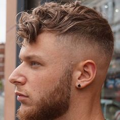Delightful Manly Cut And Beard   Skin Fade With Long Curly Fringe