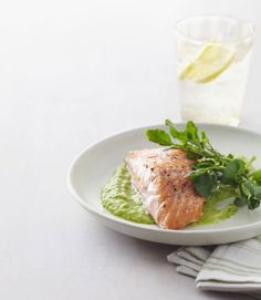 Salmon with pea puree sounds like a restaurant entree, but it's a breeze to make and it's done in under 30 minutes.