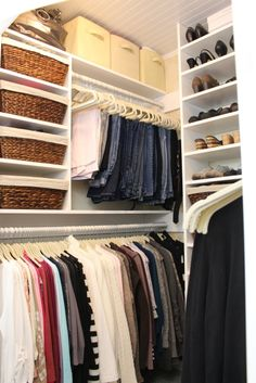 Hometalk :: How a Girl Built Her Closet - use small cabinets in sides of closet for shoes