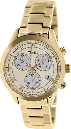 Timex Champagne Dial Chronograph Gold Tone Metal Ladies Watch T2P159 -- For more information, visit image link.