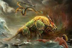 Autor: Antonio //  Comentario: En la cultura oriental el dragón o Long es el símbolo de ser supremo, el Budismo nos muestra que siguendo las verdades seremos seres supremos,  eso es lo que simboliza el dragón digamos un objetivo, por otro lado tenemos a Nian que sale del mar y esta en trance delante de la mujer  esto simboliza al ser, a la bestia que todos llevamos dentro ...  que quiere encontrar en esta vida algo a través de la mujer y como no lo encuentra se desespera, simbolizaría la…