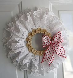 I like the doily idea, would keep it more simple. cindy stevens shares five ideas for crafting with paper doilies, including this wreath in time for valentine's day. Paper Doily Crafts, Doilies Crafts, Paper Doilies, Diy Paper, Wreath Crafts, Diy Wreath, Diy Crafts, Paper Wreaths, Holiday Crafts