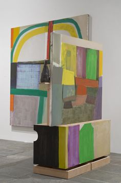 Pam Lins and Amy Sillman, Fells, 2013-14. Plywood, oil paint, plaster, Medium-density fiberboard, and ceramics, 73 × 55 × 24 in. (185.4 × 139.7 × 61 cm) Collection of the artists; courtesy Rachel Uffner Gallery, New York, and Sikkema Jenkins Co., New York. Photograph by John Berens