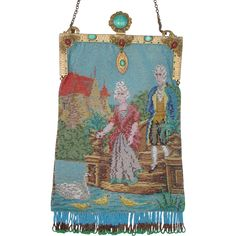 "Figural / Scenic Beaded Purse, jeweled frame, ""couple at lake feeding swan"""