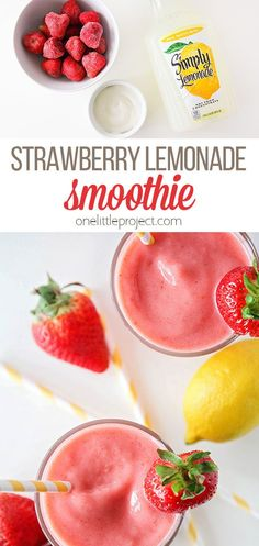 This delicious and refreshing strawberry lemonade smoothie has only three ingredients and is ready in less than five minutes. It's sure to be a favorite with the whole family! Healthy Smoothies, Healthy Drinks, Smoothie Recipes, Healthy Snacks, Healthy Recipes, Strawberry Smoothie, Strawberry Lemonade, Breakfast Recipes, Snack Recipes