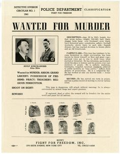 Fight for Freedom, Wanted for Murder: Adolf Schicklgruber Alias Hitler, New-York Historical Society Fight For Freedom, Us Coast Guard, Total War, Library Of Congress, Historical Society, World War Two, Wwii, Nyc, New York