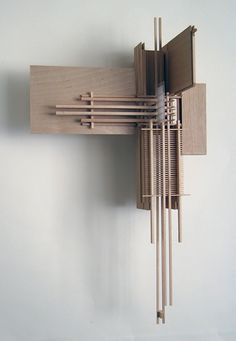 A wall sculpture made from various sticks of basswood. Art And Architecture, Architecture Details, Concrete Sculpture, Architectural Sculpture, Arch Model, Wood Stone, Design Research, Shape Design, Abstract Sculpture