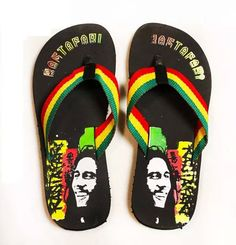 *Bob Marley* Crazy Flip Flops. More fantastic pictures and videos of *Bob Marley* on: https://de.pinterest.com/ReggaeHeart/