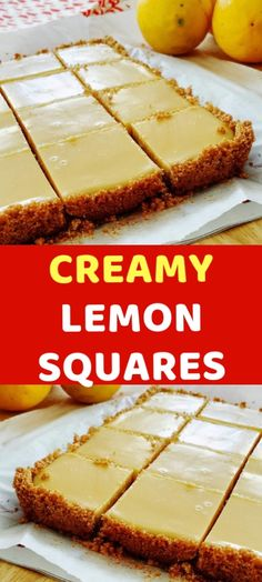 CREAMY LEMON SQUARES FOR THE CRUST: 4 tablespoons butter, melted and cooled, plus more for pan cup graham cracker crumbs cup sugar FOR THE FILLING 2 large egg yolks 1 can ounces) sweetened condensed milk cup fresh lemon juice lemons) H Lemon Desserts, Easy Desserts, Delicious Desserts, Lemon Recipes Baking, Lemon Recipes Easy, Egg Yolk Recipes, Juice Recipes, Condensed Milk Desserts, Lemon Pie Recipe Condensed Milk