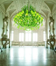 Massive Green Chandelier  Architectural Ceiling