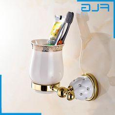 33.80$  Buy here - https://alitems.com/g/1e8d114494b01f4c715516525dc3e8/?i=5&ulp=https%3A%2F%2Fwww.aliexpress.com%2Fitem%2FCrystal-Metal-Single-Cup-Holders%2F32698289360.html - Free Shipping Bathroom Accessories Golden Crystal Brass Single cup Tumbler Holders, Crystal  Metal Toothbrush Cup Holders