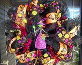 halloween wreath with deco mesh