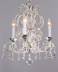 crystal chandeliers - small crystal chandelier on a hand-wrought iron frame with antiqued silver leaf finish