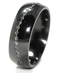 Baseball Wedding Band-Black