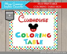 Mickey Mouse Clubhouse Coloring Table Sign. Perfect activity for your Mickey birthday party. Printable DIY. Use promo code PINTEREST10 to save 10% off your purchase.
