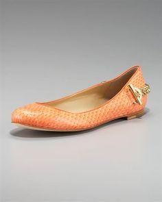 rachel zoe chain-heel snakeskin ballet flat