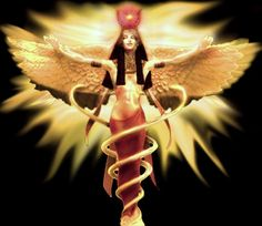 #2: the image that started it all.   I like the exposure: leaves room to illustrate the Hathor priestess tattoo.  Love the radiance both around her and in her expression. Hair more like mine, but longer.  digging the snakes/healing ties... need to research to see if it corresponds to her or Isis.