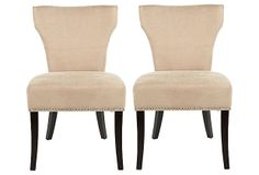 Beige Williams Side Chairs, Pair on OneKingsLane.com   Fashion-forward proportions give these chairs their refined personality. The flared back and tapered waist are elegant details and a welcome alternative to the stick-straight features of most dining chairs.  $359