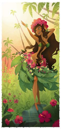 """Laka,"" the Hawaiian goddess of forest, plenty, song, and dance - namely the hula. By Brittney Lee."