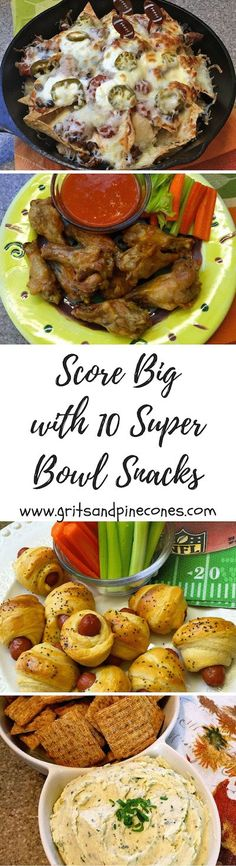 Whether you call them Super Bowl snacks or appetizers, these 10 awesome snacks will help you score big on game day with your family & friends! via /http/://www.pinterest.com/gritspinecones/
