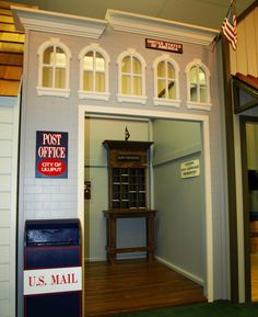 Main Street Post Office.  Features interactive mailboxes, pigeon-hole cabinet, and custom signage