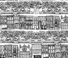 Upper West Side - New York architecture inspired fabric design by emilysanford on Spoonflower - custom fabric