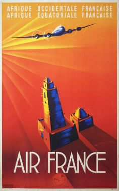 25 Vintage Travel Posters That Inspire to Travel The World. Air France poster designed in 1947 #travel