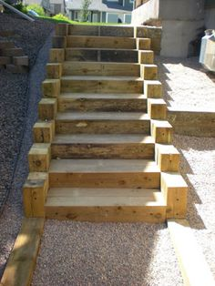 Garden stairs ideas landscape timbers ideas for 2019 Landscape Stairs, Landscape Timbers, Landscape Design, Backyard Projects, Outdoor Projects, Outside Steps, Timber Stair, How To Build Steps, Hillside Landscaping