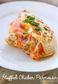 stuffed chicken parmesan - this meal takes 5 minutes of active time and is SO delicious!