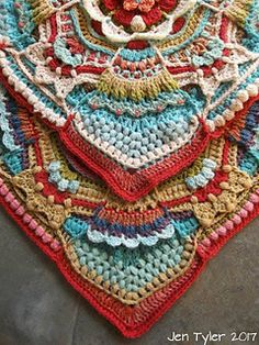 A large floral, boho-themed, textured crochet block filled with interesting nooks and crannies of eastern delights, presided over by four maidens in their pretty skirts!Ravelry: The Durban Spice Girls pattern by Jen TylerHooks 'n Tales: The Durban Sp Crochet Mandala Pattern, Crochet Blocks, Granny Square Crochet Pattern, Crochet Granny, Crochet Blanket Patterns, Crochet Afghans, Crochet Blankets, Crochet Stitches, Crochet Squares Afghan