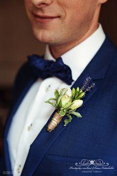 Бутоньерка жениха с лавандой