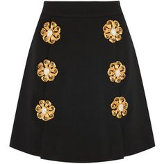 Dolce & Gabbana Embellished wool-blend gabardine mini skirt