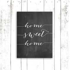 Home Sweet Home - Chalkboard Printable Art - Vintage Chalkboard Print with Quote - Entryway Home Decor