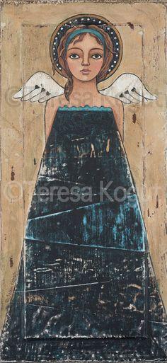 Blue on Black Original #Painting by Teresa #Kogut