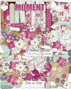 Cute digital scrapbook kit and card making kit for versatile everyday events!  Be it a birthday, Mother's Day, get well or a friendship layout or card, this kit has everything you need to make a wonderful creation! Everyday Life Series - Day to Day Collection from Nitwit Collections™ #digitalscrapbooking #digitalscrapbook #cardmaking