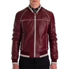 Leather Racing Moto Jacket Dolce & Gabbana Bomber