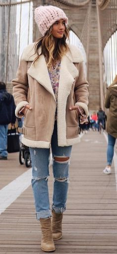 Pink Beanie, Camel Coat, Destroyed Jeans
