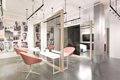 Peach Colored Chairs And Grey Wall For Superb Hair Salon Interior Design Ideas…