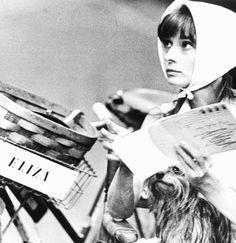 "Audrey Hepburn during the filming of ""My Fair Lady"" dir. George Cukor (1964)."