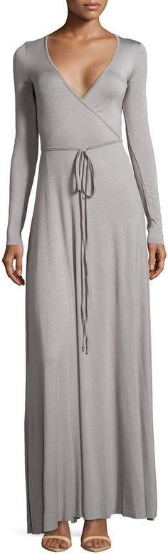 I'd put a cami underneath to hide the cleavage.  Rachel Pally Long-Sleeve Maxi Wrap Dress, Moonbeam is on sale now for - 25 % !