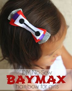No Sew Baymax Hair Bow for Girls DIY - Create an adorable Disney inspired hair bow for your little girl! This Baymax inspired bow is easy to make, no sewing RaisingWhasians.com