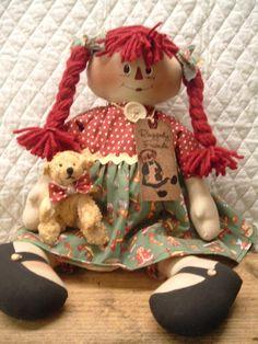 Primitive Cute Old Toys Raggedy Ann type Doll by yellowsweetpotato