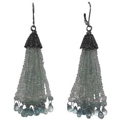 Aquamarine Gold Dangle Tassel Earrings with Diamond Silver Cup  1