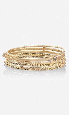 HAMMERED METAL BANGLE BRACELETS | Express