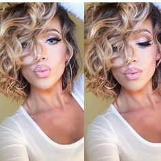 """""""Rocking my Puerto Rican curls today and winged liner with a nude lip. I used @morphebrushes gel liner and @houseoflashes """"tigress"""" @desioeyes """"creamy…"""""""