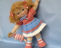 Posy Doll knitting pattern INSTANT DOWNLOAD by dollytime on Etsy