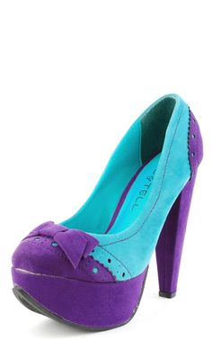 Kiss & Tell Calida 06 Purple Two Tone Perforated Bow Pumps